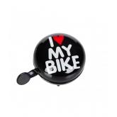 Дзвоник Green Cycle GCB-1058S I love my bike, чорний, 80мм